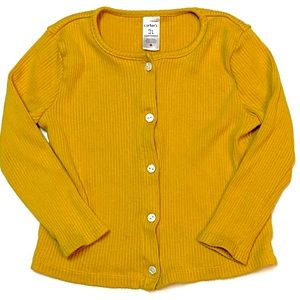 Carter's Mustard Ribbed Button-Up Cardigan 3T